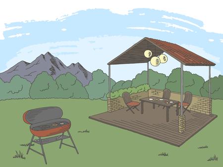 Barbecue graphic color landscape sketch illustration vector