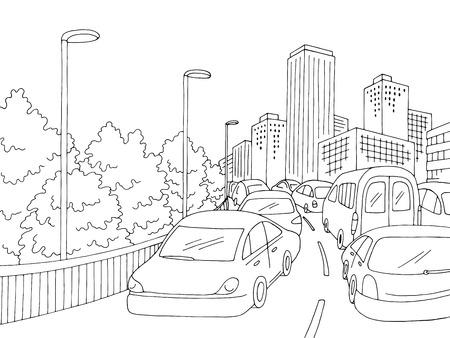 Traffic jam street vector illustration Illustration