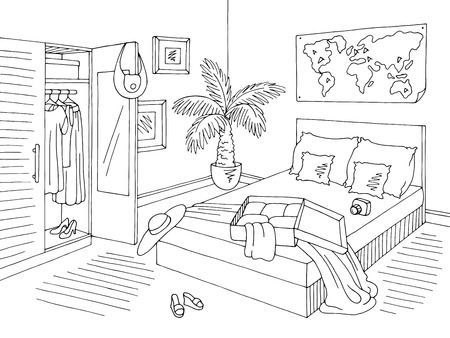 Bedroom graphic open bag black white home interior sketch illustration vector