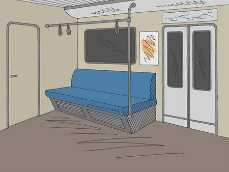 Train interior graphic metro subway color sketch illustration vector Ilustração
