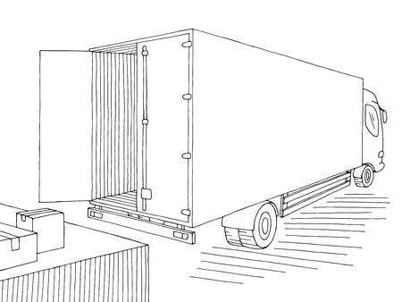 Truck unloading in stock black white sketch illustration vector
