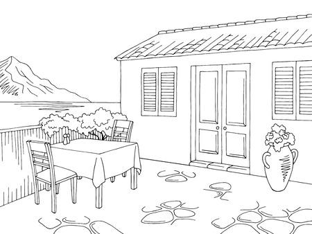 Street cafe graphic black white landscape sketch illustration vector