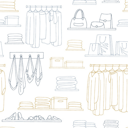 Shelves graphic color seamless pattern background sketch illustration vector