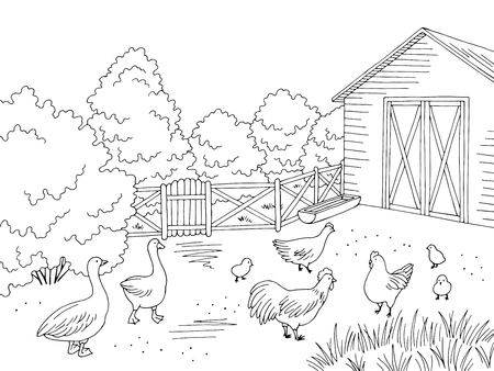 Farm bird yard graphic black white landscape sketch vector