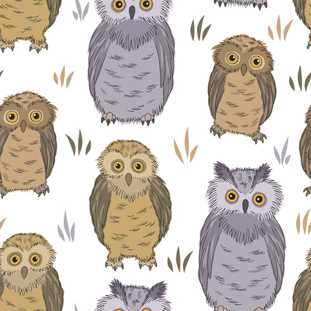 Owl graphic color seamless pattern background sketch illustration vector