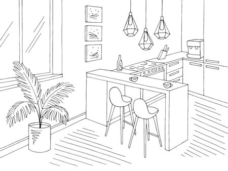 Kitchen room graphic black white interior sketch illustration vector