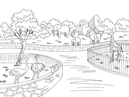 Zoo park graphic black white landscape sketch illustration vector