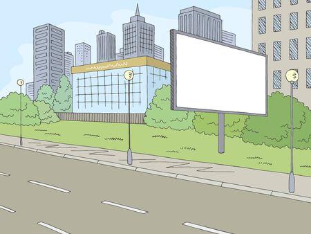 Road billboard graphic color city street landscape sketch illustration vector