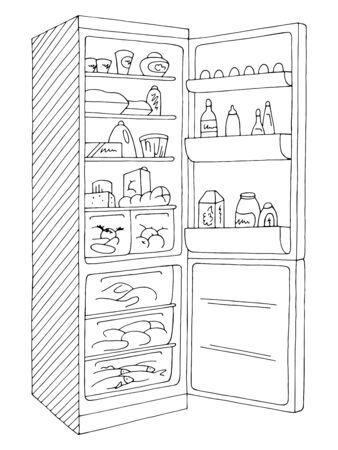 Koelkast open grafisch geïsoleerde zwart witte schets illustratie vector