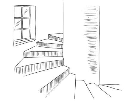 Escalier en colimaçon graphique noir blanc intérieur croquis illustration vecteur