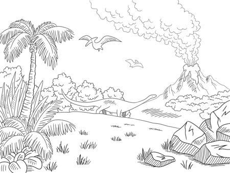 Illustrazione vettoriale di schizzo bianco nero grafico di paesaggio di dinosauro