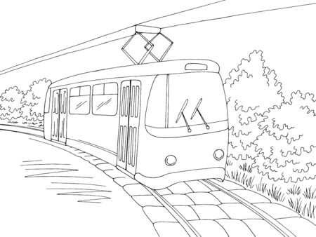 Tram graphic black white exterior sketch illustration vector 向量圖像