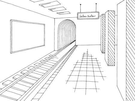 Subway station platform graphic black white interior sketch illustration vector