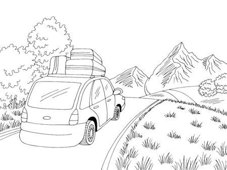 Car travel road graphic black white landscape sketch illustration vector