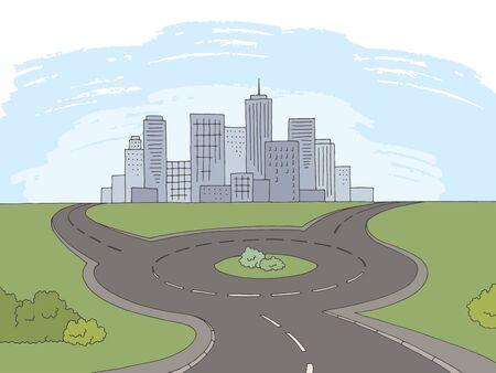 Roundabout road graphic color landscape sketch illustration vector