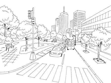 Street road graphic black white city landscape sketch vector