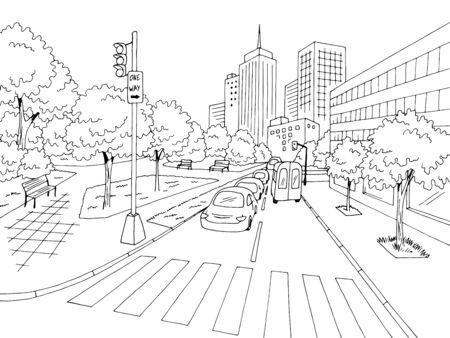 Vector de dibujo de paisaje urbano blanco negro gráfico calle carretera