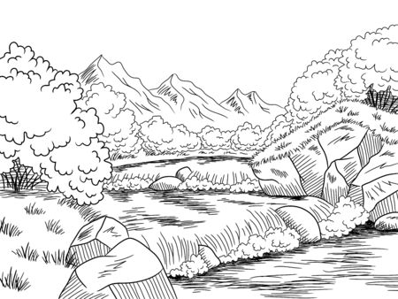 Schwarzer weißer Landschaftsskizzenillustrationsvektor des Gebirgsflussgraphen