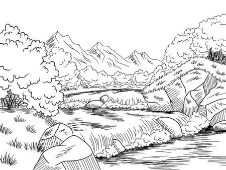 Vettore bianco nero grafico dell'illustrazione di schizzo del paesaggio del fiume della montagna
