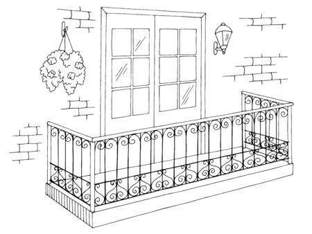 Balcon extérieur graphique noir blanc croquis illustration vecteur Vecteurs