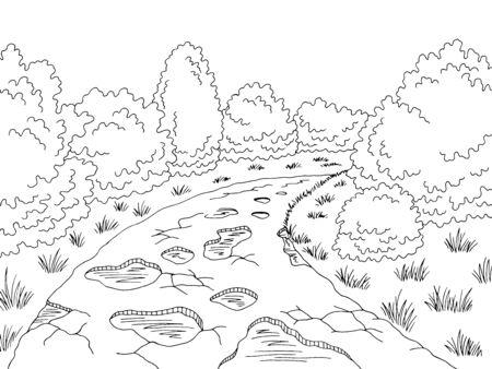 Endommagé cassé mauvaise route graphique noir blanc paysage croquis illustration vecteur