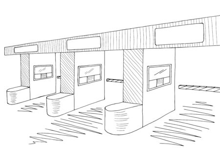 Toll road graphic black white sketch illustration vector