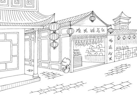 Asia old street graphic black white city landscape sketch illustration vector Illustration