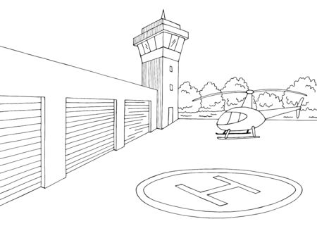 Heliport exterior graphic black white sketch illustration vector