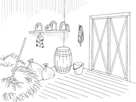 Barn warehouse graphic interior black white sketch illustration vector