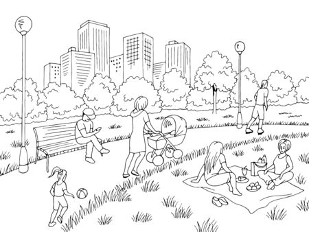 Park graphic black white city landscape sketch illustration vector