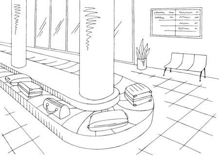 Airport interior baggage claim graphic black white sketch illustration vector
