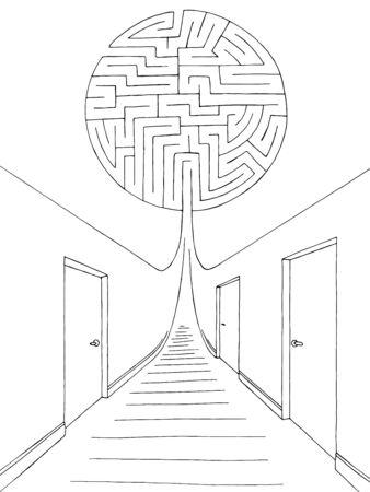 Vector de ilustración de boceto interior blanco negro gráfico de laberinto de corredor laberinto Ilustración de vector