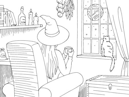Witch sitting in an armchair drinking tea and looking out the window at the moon graphic black white sketch illustration vector