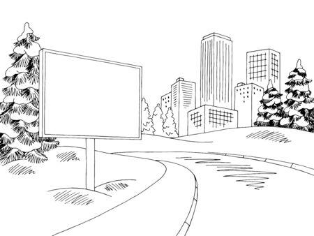 Winter street billboard graphic black white landscape sketch illustration vector