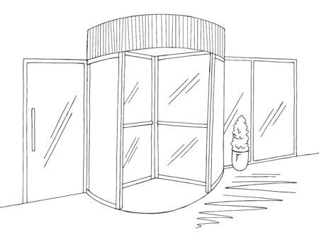 Mall entrance revolving doors building exterior graphic black white sketch illustration vector