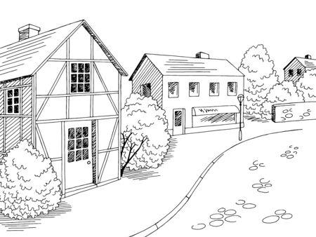 Old Europe street road graphic black white city landscape sketch illustration vector Иллюстрация