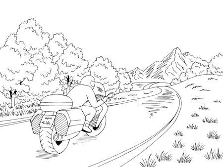 Motorcycle travel road graphic black white landscape sketch illustration vector