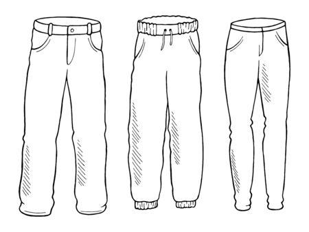 Pants set graphic black white isolated sketch illustration vector Ilustracje wektorowe