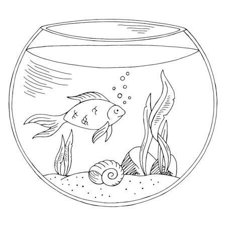 Aquarium graphic black white isolated sketch illustration vector