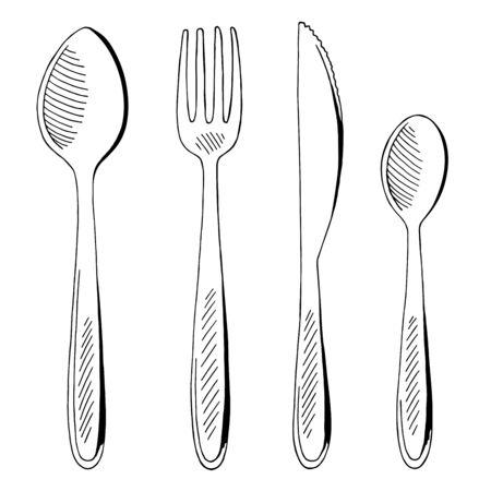 Fork spoon knife set graphic black white isolated sketch illustration vector Иллюстрация
