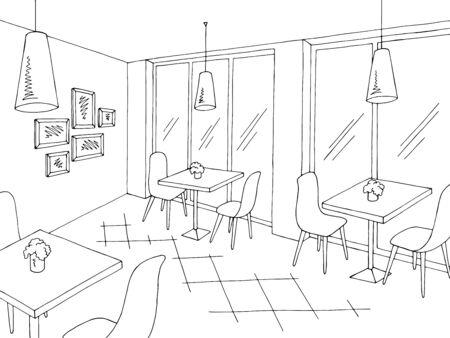 Cafe interior graphic black white sketch illustration vector Stock Illustratie