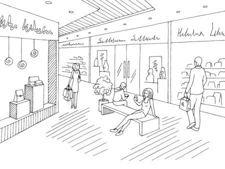 Shopping mall graphic black white interior sketch illustration vector Stock Illustratie