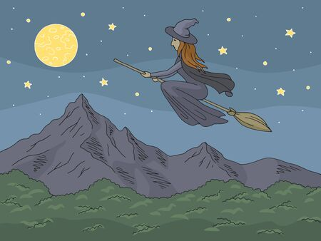 Witch flying on a broomstick. Mountain graphic color landscape sketch illustration vector Иллюстрация