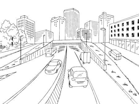 Street road graphic black white city landscape sketch vector