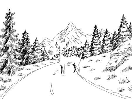 Deer on the road graphic black white landscape sketch illustration vector