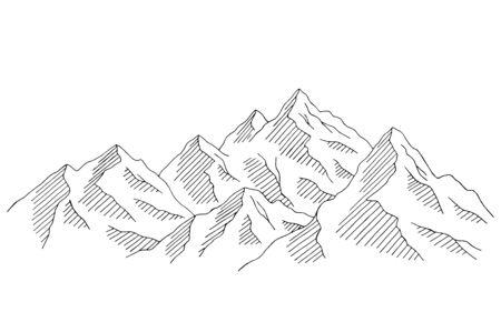 Mountain range graphic black white landscape sketch illustration vector Иллюстрация