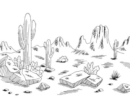 Prairie graphic black white desert landscape sketch illustration vector Illusztráció