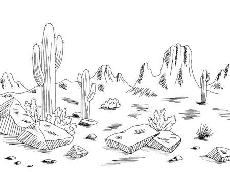 Prairie graphic black white desert landscape sketch illustration vector Illustration