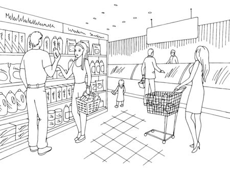 Grocery store shop interior black white graphic sketch illustration vector, people buying products