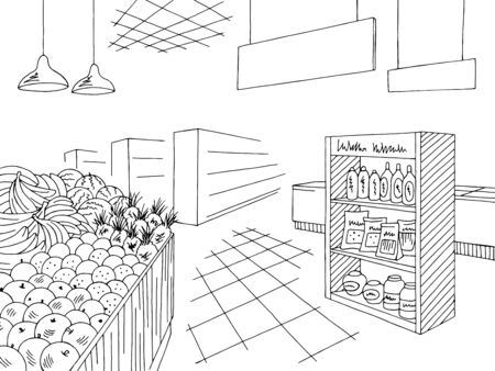 Grocery interior store shop black white graphic sketch illustration vector Vetores